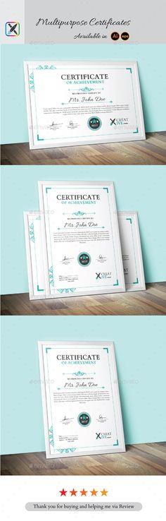 Multipurpose Certificate Template Vector EPS, AI Illustrator. Download here: https://graphicriver.net/item/multipurpose-certificate/16862193?ref=ksioks