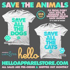 96806f6ae9f Save The Animals White T-Shirt - Proceeds donated to animal charities.  Closet