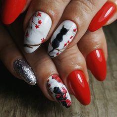 ..Red ..🔛⬆️🐱🍁🐈😻🙊🙈 #rednails #autumnnaildesign #autumnnails2018 #nailart #nailsoftheday #nailsart #nails2inspire #nails💅 #nailsofinstagram… Tree Nail Art, Nails 2018, Autumn Nails, Fall Nail Designs, April Showers, Nail Inspo, Red Nails, Christmas Nails, Opi