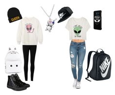 """Aliens"" by icecoldbitch ❤ liked on Polyvore featuring Samsung, Max Studio, Chicnova Fashion, NIKE, Converse, Anya Hindmarch and OPENJART"