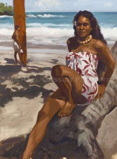 Michael Cassidy's unique vision is reflected in his South Pacific Art. Samoan Women, Polynesian Girls, Female Body Paintings, Hawaiian Art, Hula Dancers, African American Artist, Hula Girl, Vintage Hawaii, Surf Art