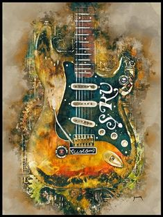 Stevie Ray Vaughan/'s Stratocaster Number One Ltd Edition Fine Art Print A3 size