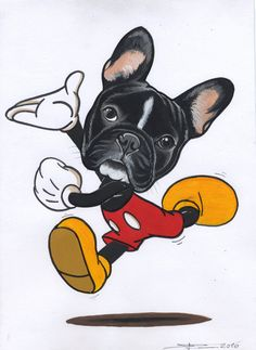 Mickey Mouse Frenchie. French Bulldog sketch by Jeroen Teunen.