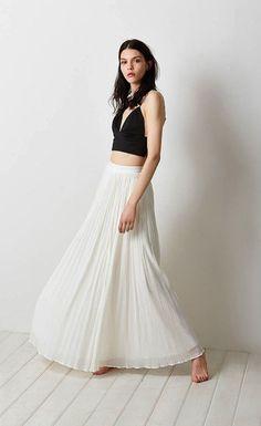 Stevie White Pleated Maxi Skirt