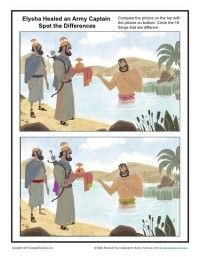 Naaman Was Healed Spot the Differences - Children's Bible Activities Bible Activities For Kids, Sunday School Activities, Bible Lessons For Kids, Sunday School Lessons, Sunday School Crafts, Preschool Bible, Bible Story Crafts, Bible Stories, Bible Object Lessons