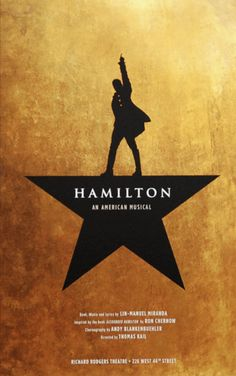 Official Hamilton Broadway window card poster, measures 14 x 22 inches.