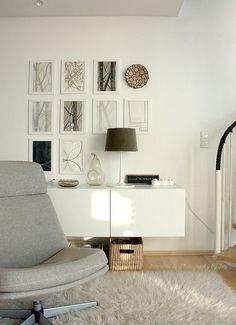 Besta floating console/art wall