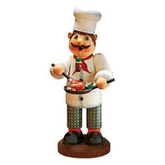 The Cook is ready to serve his perfectly roasted chickens. Käthe Wohlfahrt original design Holzknoddl; hand-painted wooden smoker.