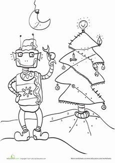 robot christmas coloring page