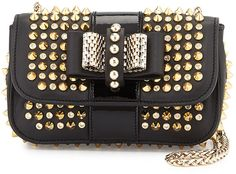 $1,650, Sweet Charity Spiked Crossbody Bag Blackgold by Christian Louboutin. Sold by Neiman Marcus. Click for more info: http://lookastic.com/women/shop_items/126369/redirect