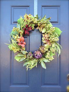 Artichoke Wreath  Spring Wreath  Tropical by WreathsByRebeccaB, $68.00
