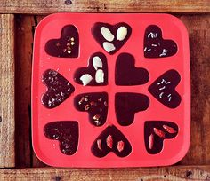 Raw Cacao Chocolates with different flavours: Almonds, Goji Berries, Chilli, Sea Salt, Lavender and Plain.  I love making them in ice-cube trays and scooping them out whenever I feel like indulging.