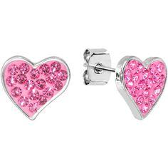 Pink Crystal Ferido Heart Stud #Earrings $10.99
