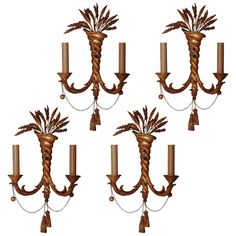 Simple Set of Four Giltwood Twisted Form Two Light Wall Light Sconces