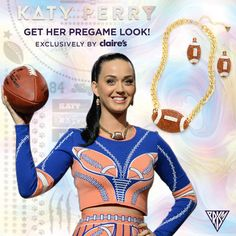 Limited edition football jewelry set -  Designed for Katy by Claire's in honor of her performance at the Big Game. Sparkly drop earrings and chunky chain necklace