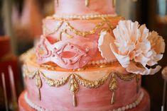 Pink and gold wedding cake | Kate Nielen Photography and Elizabeth's Cake Emporium | see more on: http://burnettsboards.com/2014/09/lavish-wedding-cakes/
