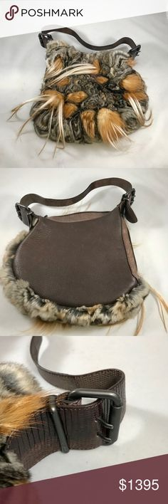 "Rare Fendi Leather and Chinchilla Purse Very rare, manufacturer has sold out completely. Approx. Measurements Shoulder Strap drop 11"", Height 9"", Width 10"" FENDI Bags"