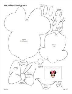 """Estes moldes para você montar o Mickey, a Minnie e acessórios são fantásticos! Você pode usar para fazer vários trabalhos e enfeites, em papel, tecido, EVA ou feltro. Você com certeza vai usar muito! Para ver as imagens em boa resolução e copiar, clicar com o lado direto do mouse e """"abrir em nova guia"""" ou ..."""