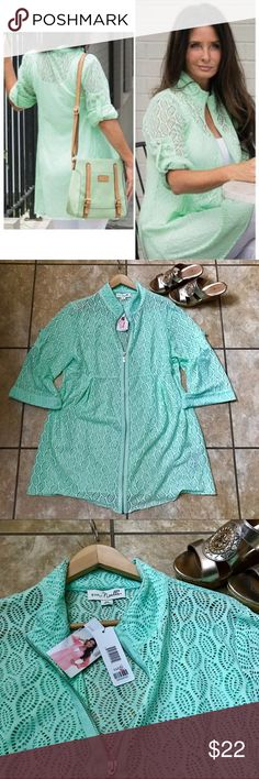 Sea Green Leaf Weave Tunic Sea Green Leaf Weave Zipper Tunic/Jacket. Wear as a swimsuit cover up too! Brand new with tags! Simply Noelle Tops Tunics