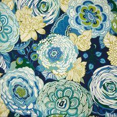 Bambina Floral Slub Carribean Decorator Fabric by Richloom