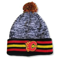 729caae0e9c Men s Calgary Flames Red Jacket Black Granite - Cuffed Knit Hat with Pom
