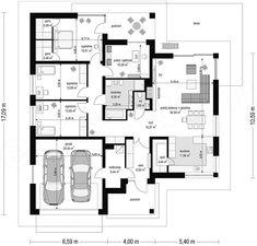 Rzut parteru projektu Doskonały Home Design Plans, Plan Design, Bungalows, Cottage Design, House Design, Building Design, Building A House, Bungalow Style House, Living Room Floor Plans