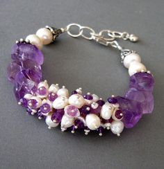 Amethyst and Pearl Cluster Bracelet by SurfAndSand on Etsy, $149.00
