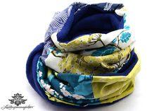 Patchwork-Schal ... kuschelig warm von #Lieblingsmanufaktur: blau, beige