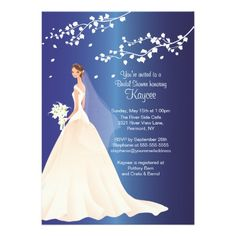 CLICK ON THE LARGER IMAGE TO SEE PRICING, CUSTOMIZING AND PURCHASING INFORMATION :: Trendy Sapphire Bride Bridal Shower Invite