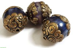 3 Tibetan Purple Blue Beads Brass Repoussee Loose by africadirect, $14.00