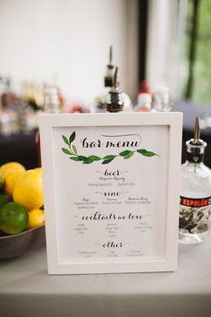 Botanical Wedding Cocktail menu.