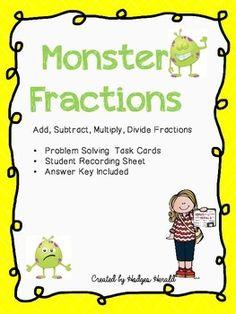 Monster Fractions Task Cards
