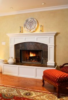 Wood burning fireplace with a slate surround, full arched mantel . , Wood burning fireplace with a slate surround, full arched mantel . Brick Fireplace Makeover, Fireplace Hearth, Home Fireplace, Fireplace Remodel, Fireplace Surrounds, Fireplace Design, Fireplace Ideas, Fireplace Refacing, Fireplace Molding