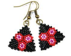 Black and Red Floral Beaded Peyote Triangle Earrings Dangle Handmade New Style Earrings Flower Earring