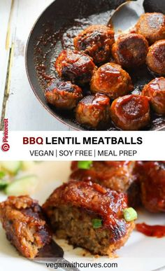 BBQ Lentil Meatballs (GLUTEN FREE, SOY FREE) BBQ Lentil Meatballs is made with simple plant-based ingredients of lentils, rice, mushrooms, and BBQ sauce. It's a vegan protein packed dish! These lentil meatballs can serve great as a post-workout entree or as an appetizer for your party or game day..