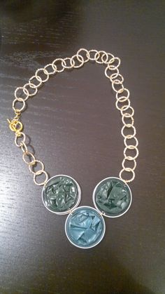 #nespresso #gioielli #DIY collana con capsule nespresso verdi con catena dorata