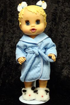 The Blue Bathrobe and matching belt. Two Pony Tail Bows. Baby Alive Doll Clothes, Baby Alive Dolls, Bear Slippers, Panda Bear, Harajuku, Bows, Arches, Bowties, Panda