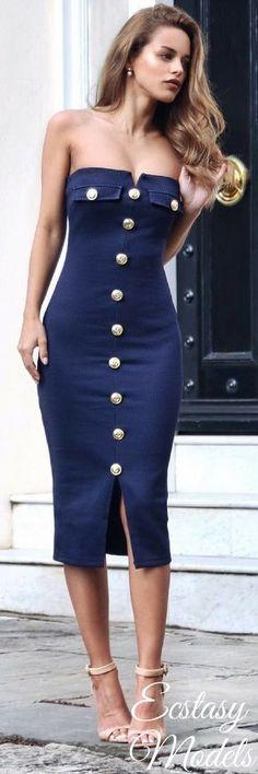 Navy Plunge Military Dress - Rare At Shopcade (Here)Pearl Swing Earring - Swarovski / Similar (Here)Mini Vienna Bag - Florian London (Here)Nude Strap Heel - Zara / Similar (Here) // Fashion Look by Nada Adelle