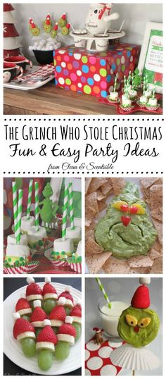 The Grinch Who Stole Christmas Party Ideas. Lots of fun Christmas food ideas! I LOVE the grinch dip! Grinch Party, Grinch Christmas Party, Grinch Who Stole Christmas, Christmas Snacks, Christmas Party Decorations, Christmas Breakfast, Xmas Party, Christmas Goodies, Holiday Fun