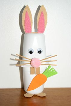 Yogurt cup easter bunny craft for kids