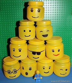 Lego party ideas with baby food jars
