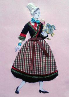 La bretonne, incrustation tissu sur carton mousse, d'après Magic Loisir No.69, Costumes folkloriques sur carton mousse.