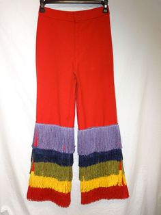 VTG 70's Big E Red Levi's Bell Bottom Rainbow Pride Fringe OOAK 28x30 High Waist #Levis