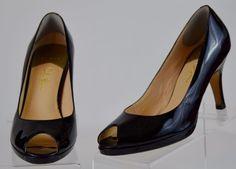 Cole Haan Nike Air 8.5 Medium Womens Black Patent Leather Peep Toe Heels Ex Used #ColeHaan #PumpsClassics #WeartoWork