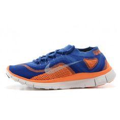 Nike Free Flyknit 5.0 Mens Shoes Blue / Orange $88