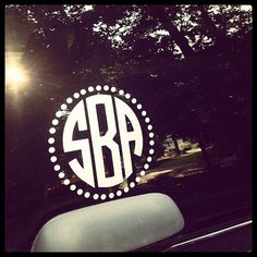 Monogrammed Car Window Decal with Polka Dot Circle by JFBDesignz