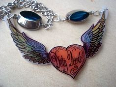Winged Heart Dirty Deeds Shrinky Dink Necklace | BriarRose - Jewelry on ArtFire
