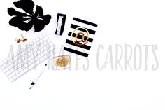 Styled Stock Photography   White, Black and Gold Desktop   Stock Photo…