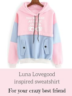 """you're just as sane as I am"" Blue and pink Luna Sweatshirt!  I know just the friend who should get this for Christmas! #ad #affiliate #etsy #etsygifts #christmasgifts #harrypotter #lunalovegood #yourejustassaneasiam #harrypotterfan #harrypotterclothes #sweatshirt #jumper #pinkandblue #oybpinners"