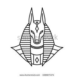 anubis logo vector line art outline monoline illustration Egyptian Artwork, Egyptian Drawings, Egyptian Symbols, Ancient Egyptian Art, Egyptian Anubis, Tattoo Sketches, Tattoo Drawings, Anubis Drawing, Anubis Tattoo